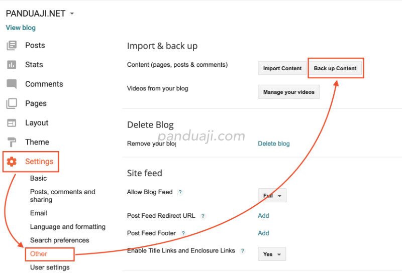 cara export / backup konten di dashboard blogger