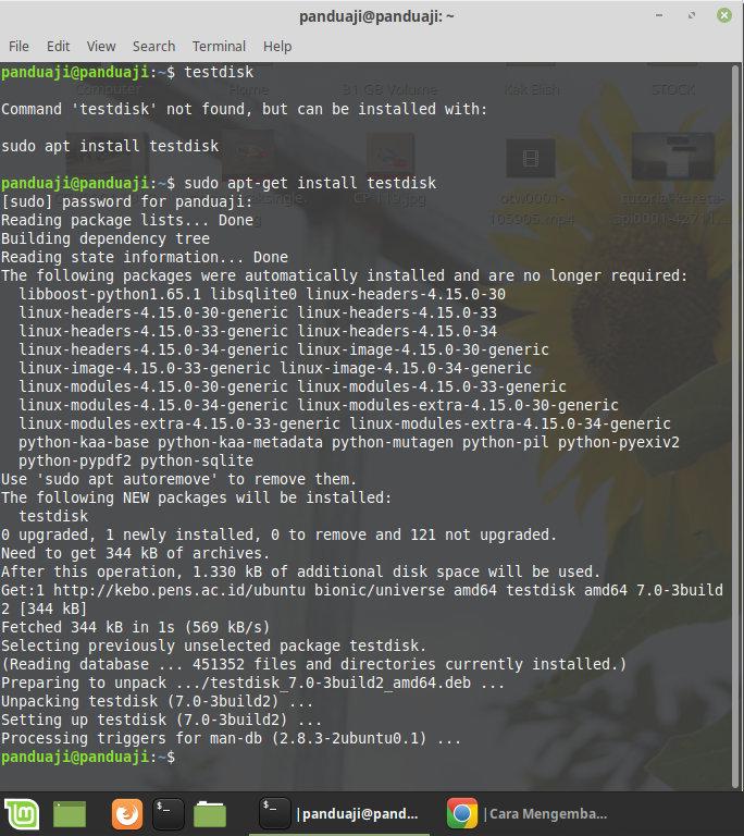 Install Testdisk di Linux melalui terminal
