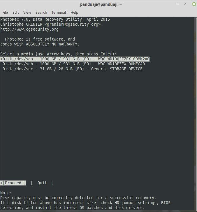 Menjalankan testdisk di Linux