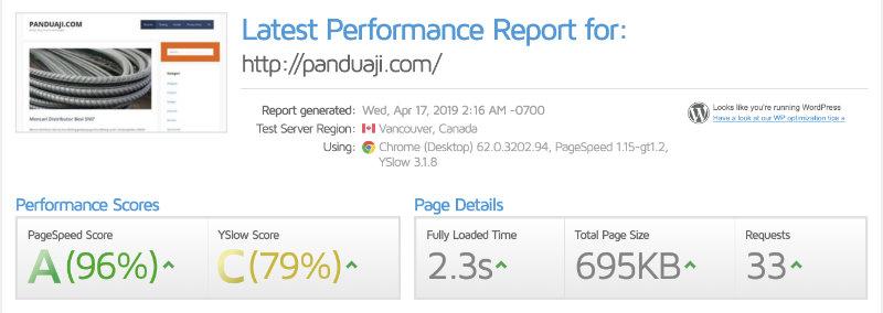 test kecepatan website