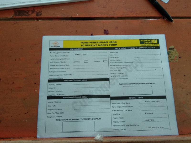 Form Pengambilan Uang Western Union di Kantor Pos