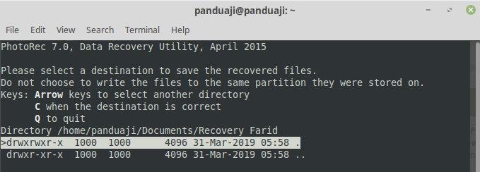 Tentukan Folder Recovery