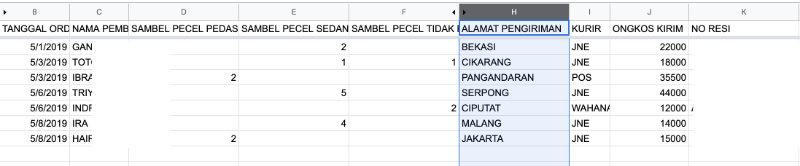 Isi spreadsheet dari form