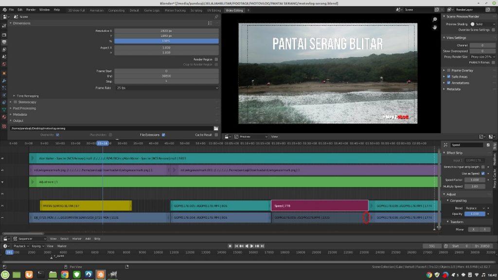 Cara Mengatur Kecepatan Video di Blender VSE