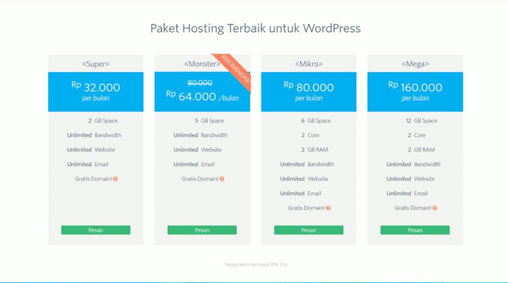 Wordpress Hosting di Domainesia