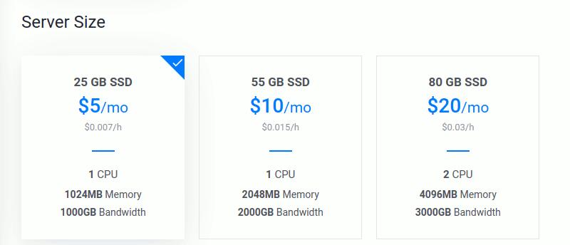 Pilih ukuran server