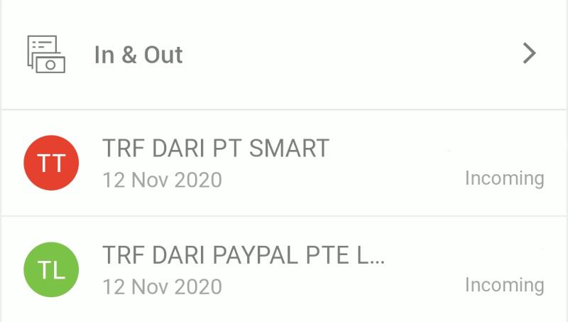 Pembayaran dari Paypal