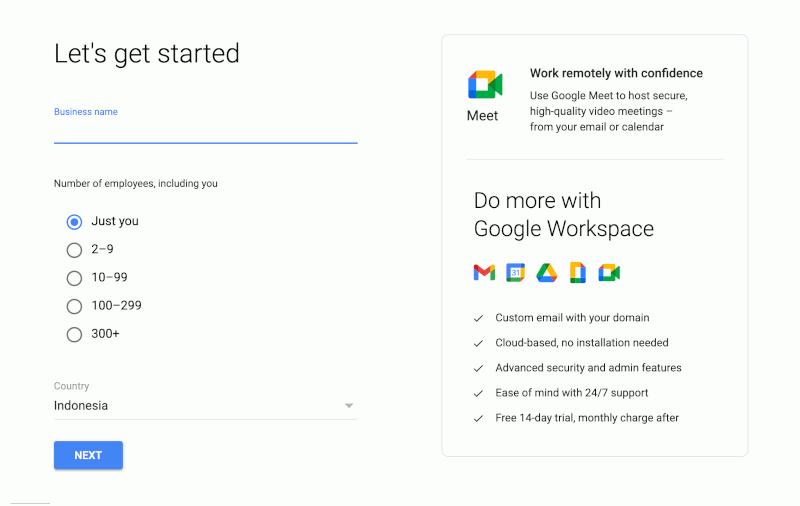 Step 1 Google Workspace