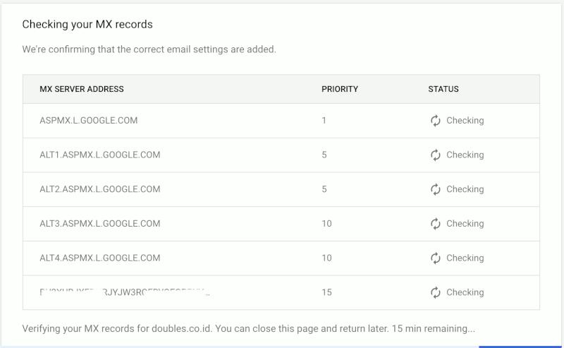 Verifikasi MX Records